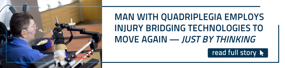 Man with quadriplegia employs injury bridging technologies to move again—just by thinking