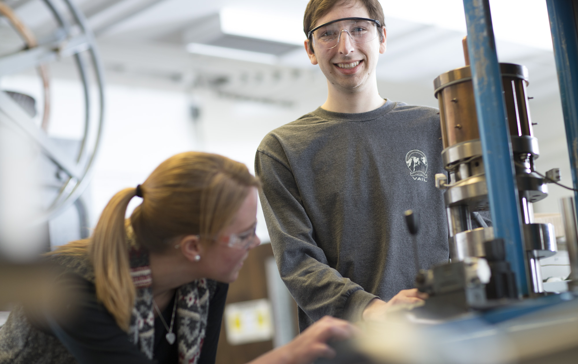 Materials engineering students working in the Advanced Manufacturing and Mechanical Reliability Center