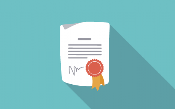 Illustrated image of paper with award seal