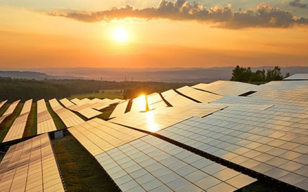 Solar panels during sunset