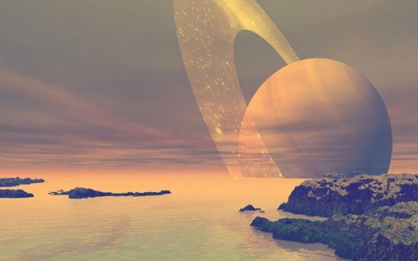An artist's rendering of the liquefied methane seas of the moon Titan, with a view of Saturn on the horizon