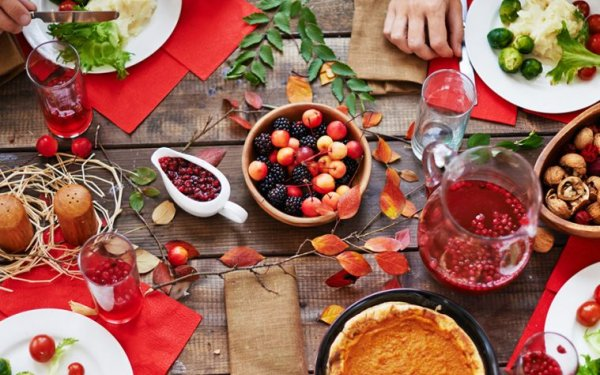 Thanksgiving table with various food