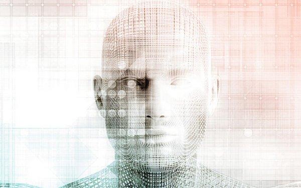 human head with digital language overlay