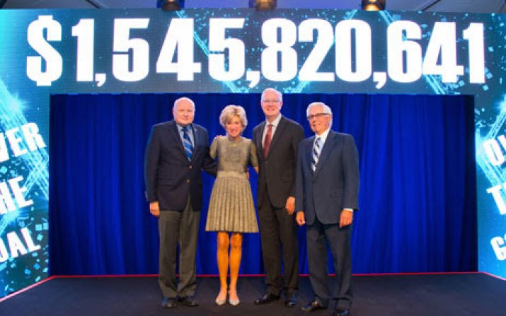President Barbara R. Snyder announcing the university surpassed its $1.5 billion campaign goal, alongside (from left) Board of Trustees Chair Jim Wyant, trustee Tim Callahan and Forward Thinking Campaign Chair Frank Linsalata