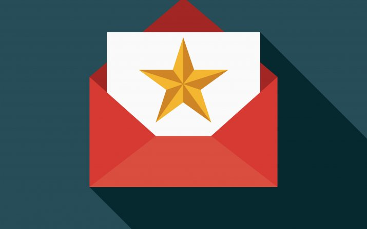 Gold star card in red envelope