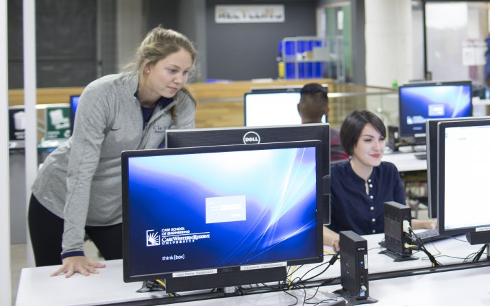 female students working at computers in Sears think[box]