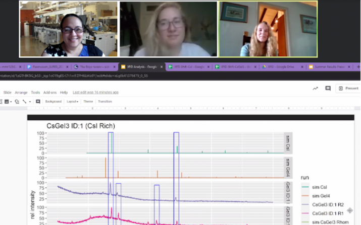 Dr. Ina Martin and undergraduates Sarah Lavin (Chemistry, Art History, CWRU 2021) and Mirra Rasmussen (EMSE, 2024) on their weekly Zoom call to discuss project objectives.