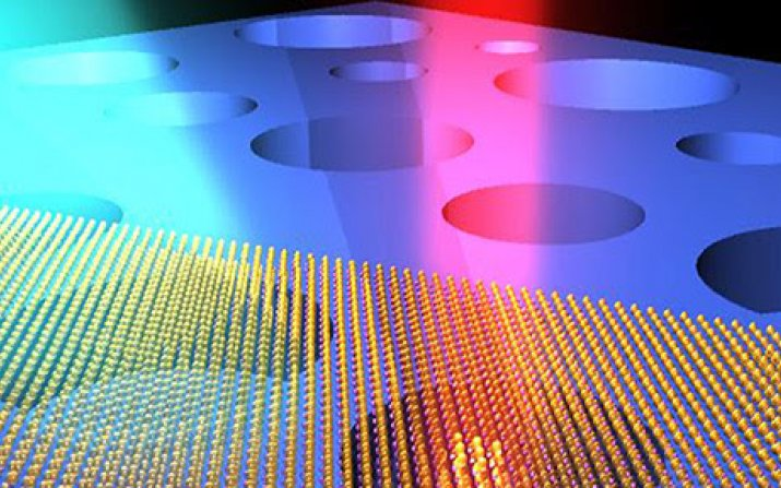 Illustration of ultrasensitive optical interrogation of the motions of atomically thin drumhead nanoelectromechanical resonators (made of atomic layers of MoS2 semiconductor crystals).