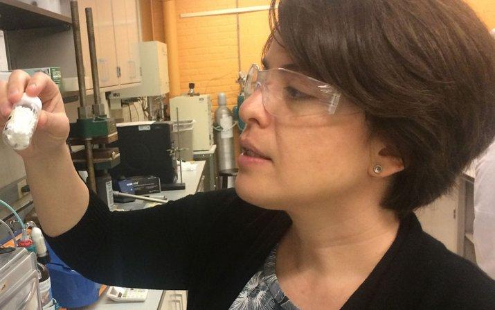 Burcu Gurkan working in a lab