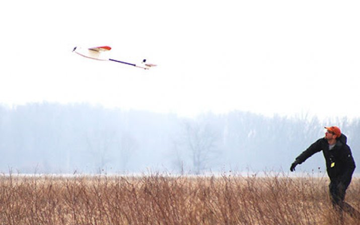 Photo of drone in flight (Photo by Audrey Ingram, Ohio Federal Research Network)