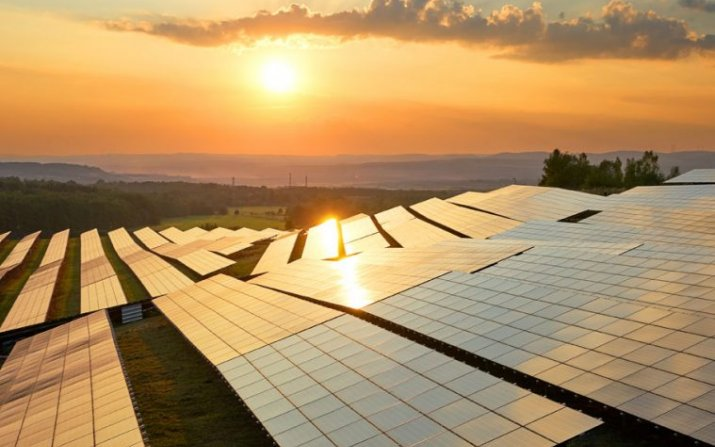 Solar panels at sunrise