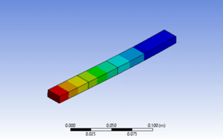 3D model with displacement of a cantilever beam.