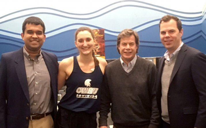 Photo of Dhruv Seshadri, Samantha Magliato, Professor Colin Drummond, Associate Professor James Voos