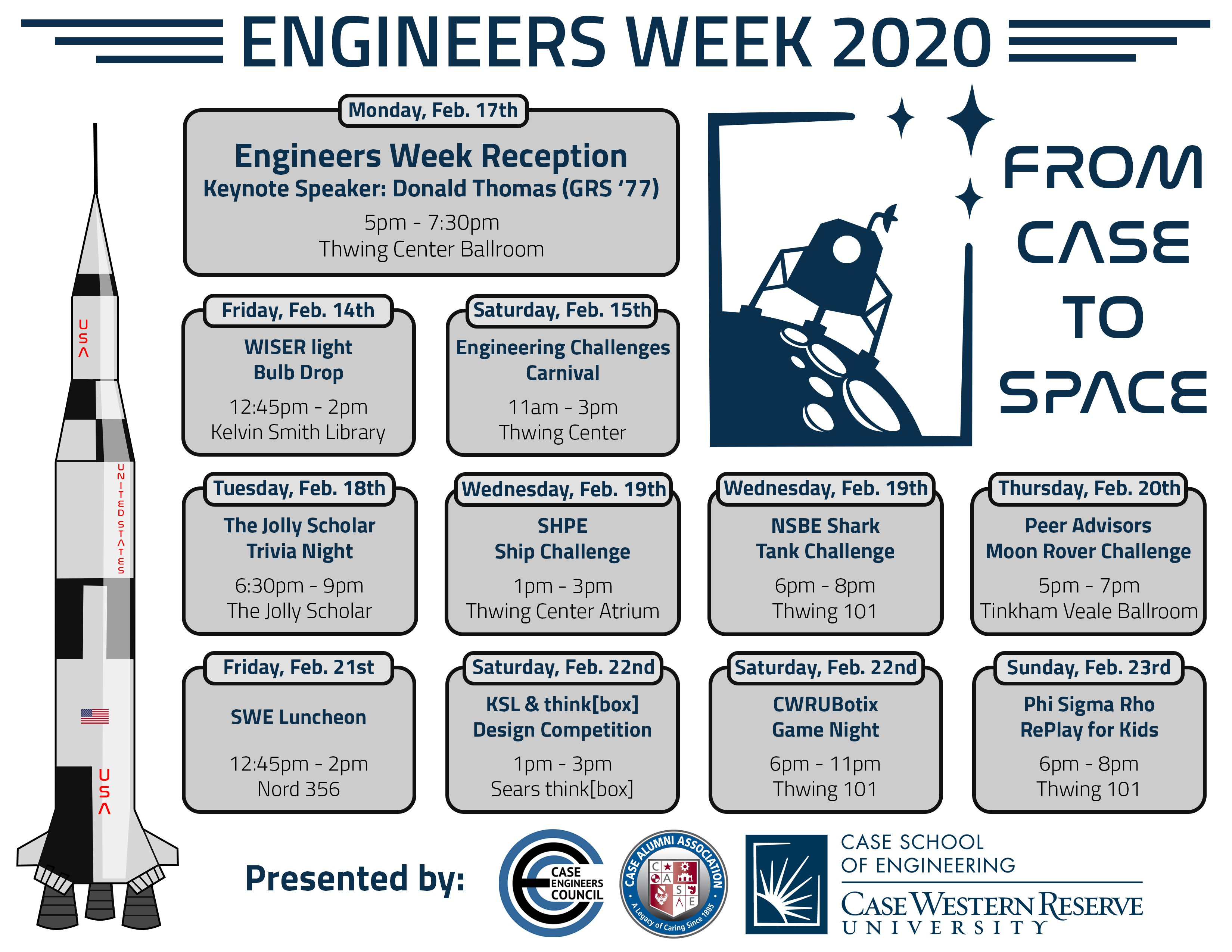 Calendar of events for E-Week 2020