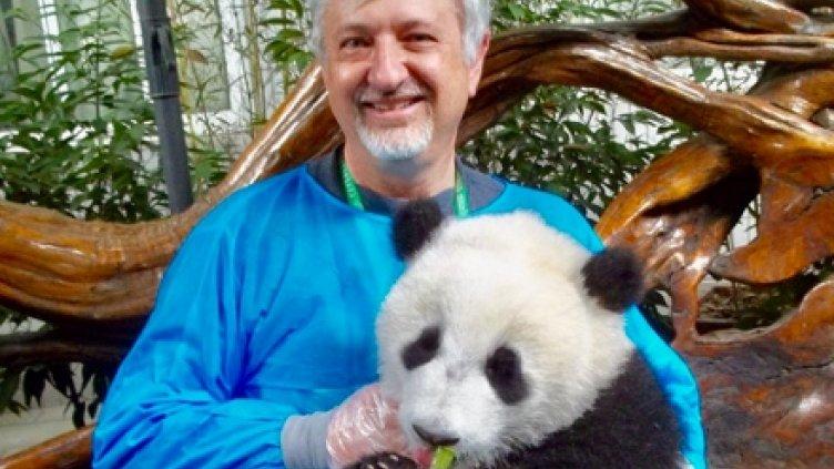 David Schirladi and panda on trip to China