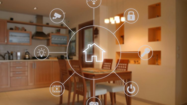 Smart home sensor overlay with living room in background