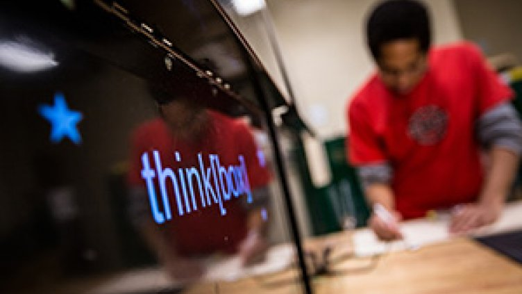 student in think box
