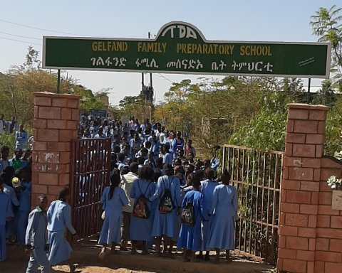 group of students entering school