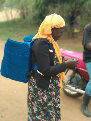 Healthcare worker with a CWRU-designed backpack