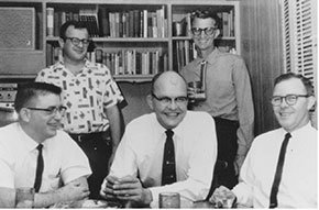 Photo of Texas Instruments engineers including Charles H. Phipps