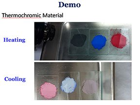 Samples of black, blue and red paint which change color from exposure to light.