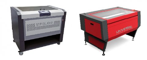 Two laser cutters of different brands