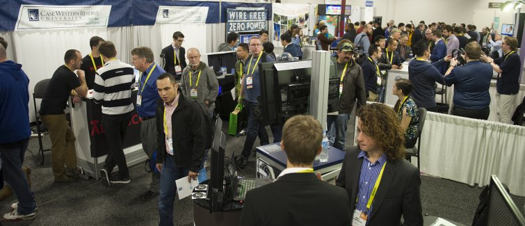 Case Western Reserve students at booths at CES trade show in Las Vegas