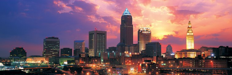 skyline of downtown Cleveland at sunset