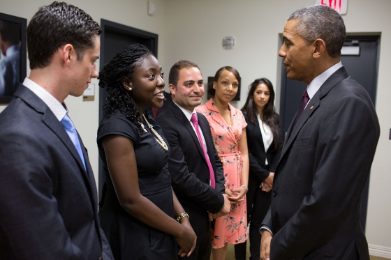 Gomez del Campo (left) got to meet President Obama during a White House event highlighting young entrepreneurs.