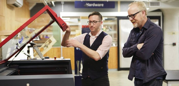 Ian Charnas shows Adam Savage the laser cutter