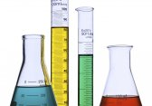 Beakers full of colorful liquids