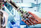 Image of robotic hand and human hand