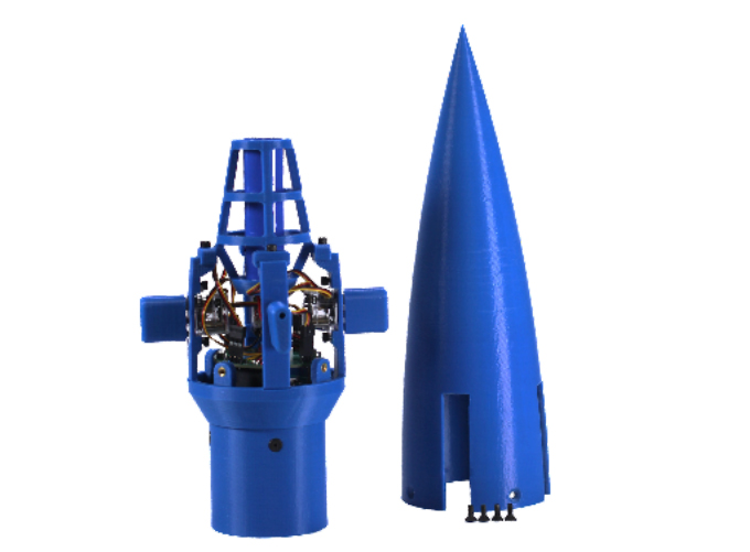 A 3D printed rocket nose cone with electronics and servos